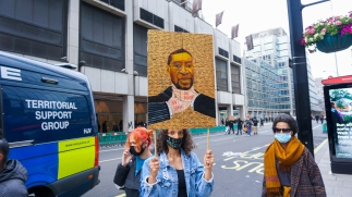 A 'Black Lives Matter' protest in London showing a tribute to George Floyd. Photograph taken by Daniella Ekundayo