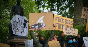 A 'Black Lives Matter' protest in London. This picture features artwork by @mikefineartist. Photograph taken by Daniella Ekundayo